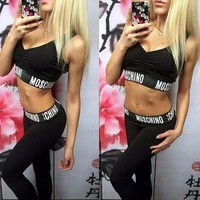 LMFONHA Moschino Fashion Tight Sport Vest Tank Top Pants Trousers Set Two-Piece