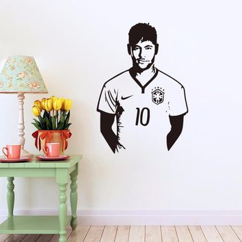 Soccer Neymar Wall Stickers Vinyl DIY Wall Decal Home Decor Football Player Wall Stickers For Kids Boys Rooms Sport Murals A398