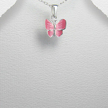 Girl's Sterling Silver Butterfly Pendant, Decorated with Colored Enamel