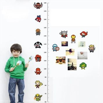 Cartoon Movie Avengers Height Measure Chart Wall Stickers For Kids Rooms Decals Art for Nursery Home Decoration Poster