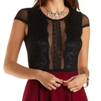 Lace & Mesh Bodysuit with Cap Sleeves by Charlotte Russe - Black