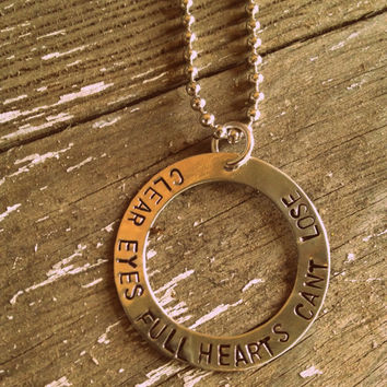 "Hand Stamped  ""Clear Eyes Full Hearts Can't Lose"" Quote from Friday Night Lights Necklace"