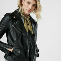 Petite (Minus The) Leather Quilted Moto Jacket