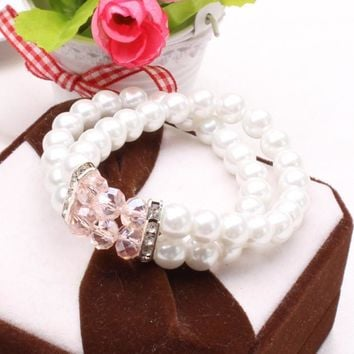 Stylish Shiny New Arrival Great Deal Gift Hot Sale Awesome Summer Double-layered Pearls Bangle Bracelet [6573085127]