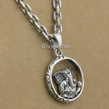 """925 Sterling Silver Buddha Elephant Pendant- 925 Sterling Silver Necklace 24"""""""