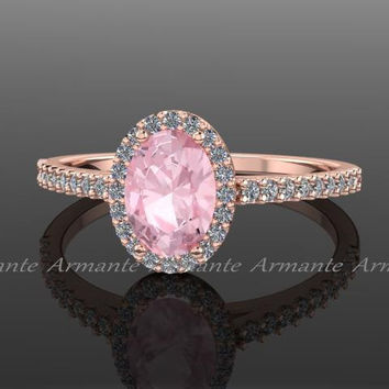 Halo Oval Morganite & Diamond Engagement Ring