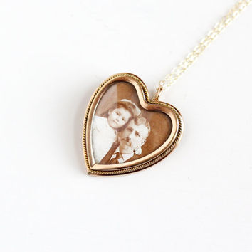 Sale - Antique Heart Photograph Locket Pendant Necklace - Vintage 10k Gold Filled Early 1900s Edwardian Dad Daughter W&H Co. Family Jewelry
