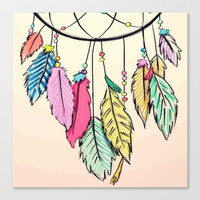 dream catcher; Canvas Print by Pink Berry Patterns