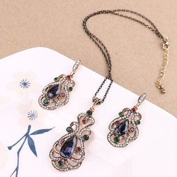 Antique Gold Ornate Blue and Green Stone Pendant and Earring Set