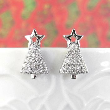 Tiny Christmas Tree Earrings with Star and Crystals