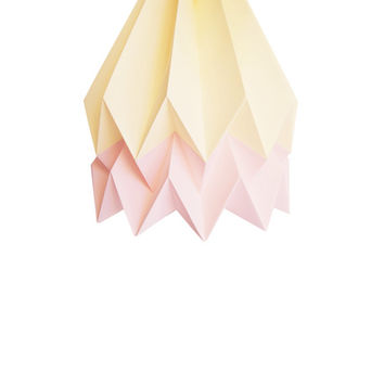Pale Yellow with Pastel Pink Stripe | Handmade Origami Lighting | FREE SHIPPING