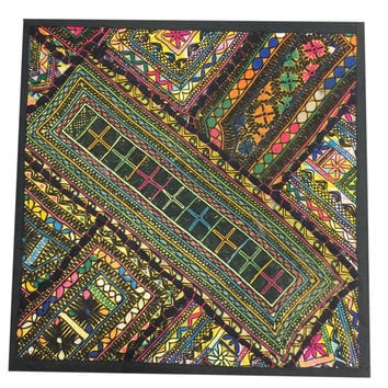 Indianwall Hanging Tapestry Embroidery Sequins Old Sari Patchwork(18x18inch)