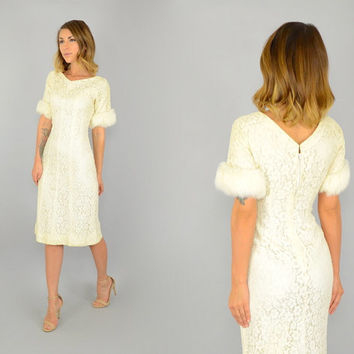 vtg 50's CREAM LACE Rabbit Fur Trimmed sleeves Mad Men Cocktail party wedding Wiggle DRESS, small