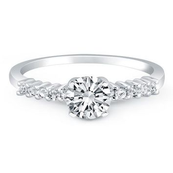 14K White Gold Shared Prong Accent Diamond Engagement Ring, size 6