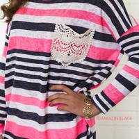 Stripes And Everything Nice Pink & Gray Top