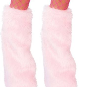 Baby Pink Furry Leg Warmer Rave Accessories and clothing