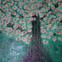 Painting Abstract Tree Acrylic Paint With Texture Added With Pallet Knife