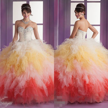 2016 quinceanera dresses debutante ball gown pleats Ruffles sheer beading sequin bling beads Quinceanera Dresses
