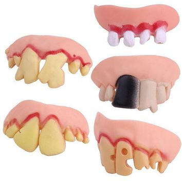 Funny Goofy Fake Vampire Denture Teeth Halloween Decoration Props Trick Toy For Party Decoration Supplies