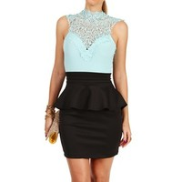 MintBlack Crochet Neck Peplum Dress