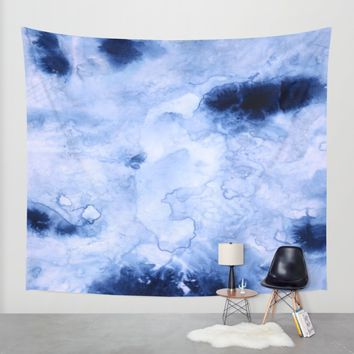 Marbled Water Blue Wall Tapestry by Nina May Designs | Society6