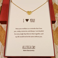 Petite Gold Plated Heart Necklace with Card | I Love You Necklace | I Heart You Gift | Love and Friendship Jewelry