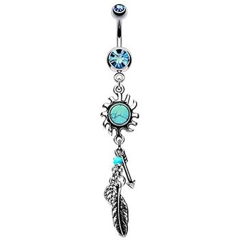 BodyJ4You Belly Button Ring Dangle Tribal Sun Leaf 14G Curved Barbell Navel Surgical Steel Aqua Crystal