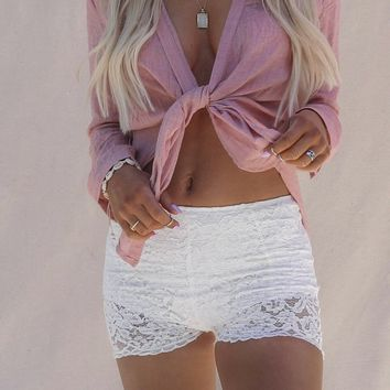 Sweet Afternoon White Lace Festival Shorts