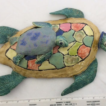 """Turtle Sculpture,  baby, 11"""" x 8"""", wall hanging, or table top, patio decor, multi colored, baby green blue."""