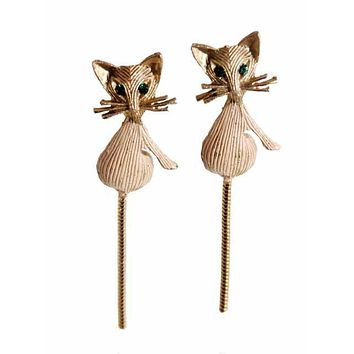 Vintage Gold Tone Cool Kitties Cat Brooches Scatter Pins 1960s Green Eyes