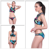 POLOVI Fashion Print Colorful Women Hot Bikini Set High Neck Halter Swimsuit Swimwear Halter Style Bathing Suit PLSJ16004
