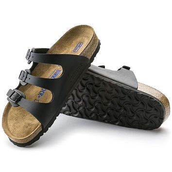 Best Online Sale Birkenstock Florida Soft Footbed Birko Flor Black 0053011/0053013 San
