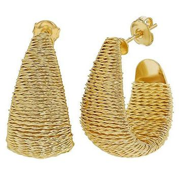 18k Gold Plated Wide Wire Wrapped Braided Half Hoop Earrings Women Fashion 30mm