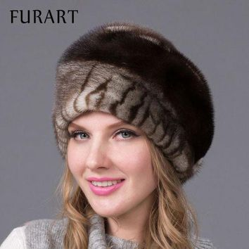 CREYCI7 Russian winter fur hat for women real mink fur hat with diamond fashion hot sale women fur cap good quality ear protector DHY-43