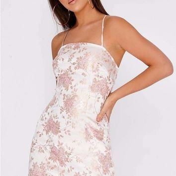GIONNA ROSE GOLD ORIENTAL LACE UP BACK DRESS