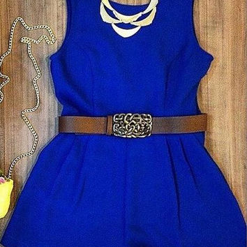 Scoop Sleeveless Brief Pure Color Short Jumpsuit