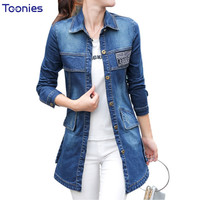 Denim Jacket Women Single Breasted Bomber Jacket Women Long Sleeve Slim Jeans Jackets