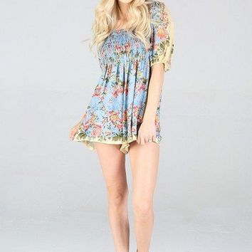 Women's Floral Romper with 3/4 Sleeve