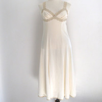 vintage ecru slip - 70s cream beige lace nylon nightgown - midi dress - small / medium