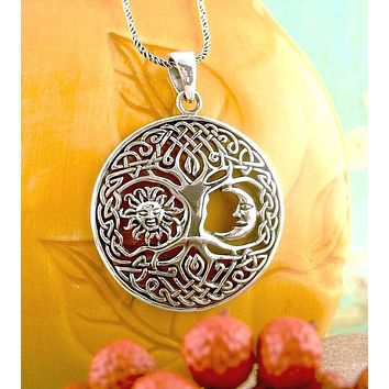 Celtic Tree of Life with Sun and Moon Necklace