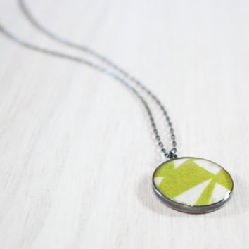Geometric Triangles Necklace lime green by DarlingStudio on Etsy