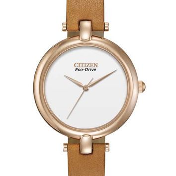 Citizen Eco-Drive Ladies Silhouette Strap Watch - Rose Gold-Tone - Brown Leather