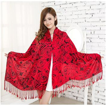 from india Cotton Scarf for Women 2017 long Blanket Scarf Women Pashmina Poncho Winter Shawls Scarves Wraps Tassels Tippet