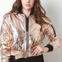 Foil Puffy Bomber Jacket