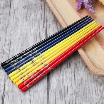 5 pairs Japanese Natural Wooden Chopsticks Wedding gifts Health Without Lacquer Wax Tableware Dinnerware Hashi Sushi Chinese