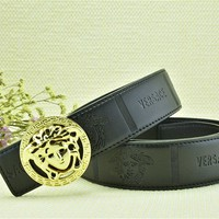 Versace Collections Men Versace Head Embossed Belt Black Leather Gold Buckle Stainless Adjustable Cut To Fit