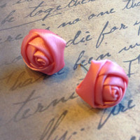 Handmade Dark Pink 16mm Diameter Satin Rose Rosette Retro Victorian Fabric Stud Post Earrings