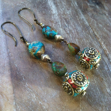 Padme Earrings // tibetan, brass, turquoise  // ready to ship, gypsy, spirittribe, boho, festival,   jewerly,coral