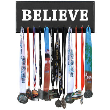 Believe Marathon Medal Display Holder Rack
