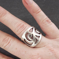 Bukle Adjustable Silver Ethnic Tribal Boho Statement Ring - Authentic Turkish Style